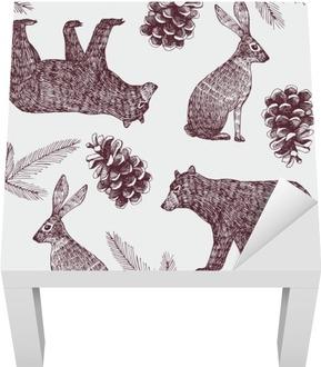 hand drawn winter trendy seamless background Lack Table Veneer