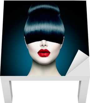High Fashion Model Girl Portrait with Trendy Fringe Lack Table Veneer