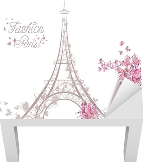 High-heeled shoes on background of Eiffel Tower. Paris Fashion Lack Table Veneer