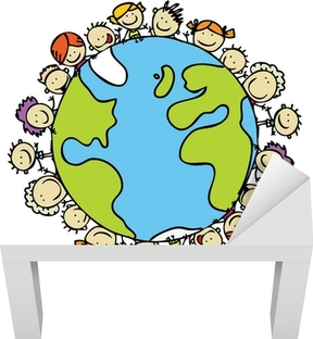Kids around the world together save the planet earth Lack Table Veneer