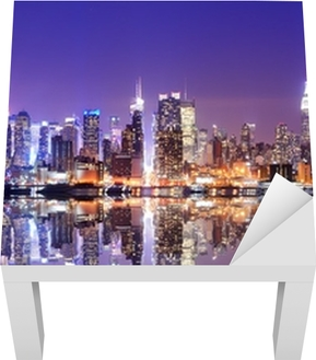 Manhattan Skyline with Reflections Lack Table Veneer