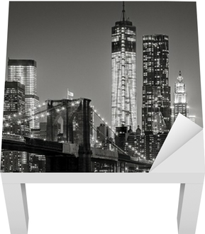 New York City by night Lack Table Veneer