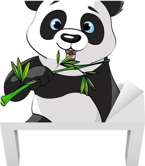 Panda eating bamboo Lack Table Veneer