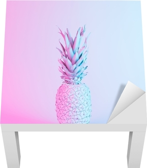 Pineapple in vibrant bold gradient holographic neon colors. Concept art. Minimal surrealism background. Lack Table Veneer