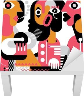 Portrait of Three Women Lack Table Veneer