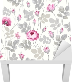 seamless floral pattern with roses in pastel colors Lack Table Veneer