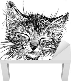 sleeping cat Lack Table Veneer