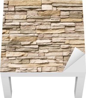Stacked stone wall background horizontal Lack Table Veneer
