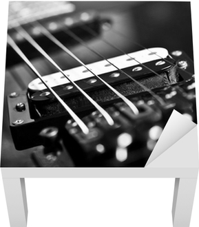 Strings Electric Guitar Closeup In Black Tones Wall Mural Pixers