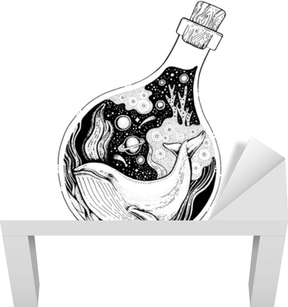c6e3faff86737 Hand drawn surreal design for apparel. Black animal in the bottle, night  ocean, space. Vintage vector illustration, sketch isolated on white  background ...