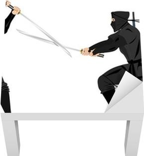 Lack Tafelsticker Twee ninja's vechten met katana