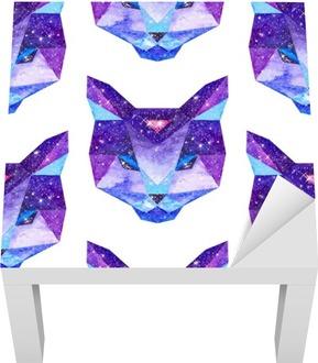 Lack-Tischaufkleber Aquarell kosmische Tiere. Hand gezeichnete Illustration
