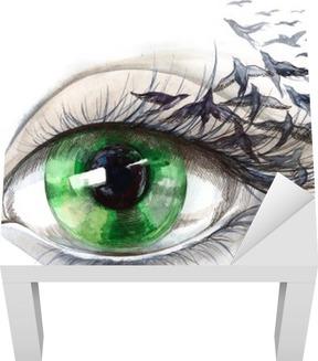 Lack-Tischaufkleber Auge mit Vögeln (Serie C)