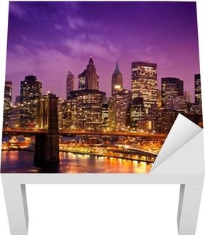 Lack-Tischaufkleber Brooklyn Bridge über Manhattan