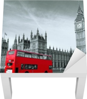 Lack-Tischaufkleber Bus in London