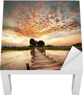 Lack-Tischaufkleber Fluss bei Sonnenuntergang