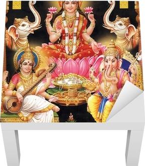 Lack-Tischaufkleber INDIAN GODESS MAA LAKSHMI MIT MAA Saraswati und GANESH JI - Öffentliche Gebäude