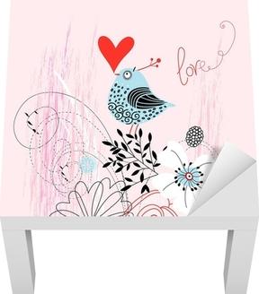 Lack-Tischaufkleber Liebe Vogel