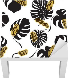 Lack-Tischaufkleber Nahtlose Muster aus den Monstera Blätter