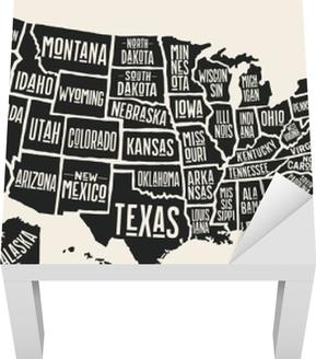 Amerika Karte Schwarz Weiß.Plakatkarte Der Vereinigten Staaten Von Amerika Mit Staatsnamen Schwarzweiss Druckkarte Von Usa Für T Shirt Plakat Oder Geographische Themen Hand