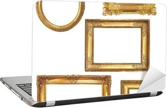 Laptop-Aufkleber 5 alte Holzrahmen auf weißen Hintergrund Gold