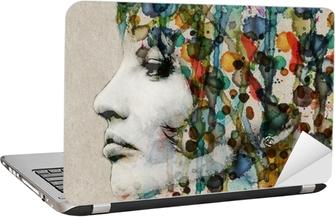 Laptop-Aufkleber Aquarell weibliches Profil
