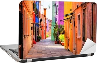 Laptop-Aufkleber Farbenfrohe Straße in Italien