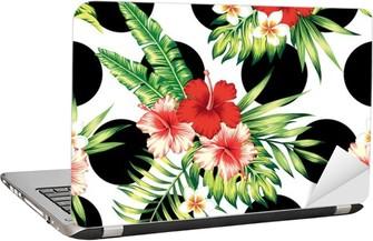 Laptop-Aufkleber Hibiskus und Palmen Blätter-Muster