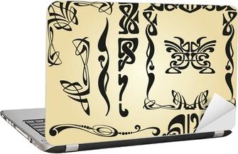 Laptop-Aufkleber Jugendstil-Design Rahmen und Elemente