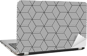 Laptop-Aufkleber Nahtlose geometrische Muster mit Würfeln.