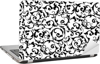 Laptop-Aufkleber Schwarz nahtlose Muster, Silhouette