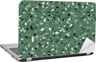 Laptop-Aufkleber Terrazzo nahtlose Muster. Oberflächenbeschaffenheit des dekorativen Granitmosaiks. grüne Marmorfliesen. Steinboden Textur. Vektor-Illustration