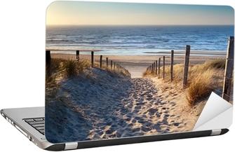 Laptop-Aufkleber Weg zum Nordseestrand in Gold Sonnenschein