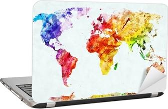 Laptop-Aufkleber Weltkarte in Aquarell