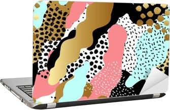 Laptop-Aufkleber Zusammenfassung nahtlose Muster oder Hintergrund mit Goldfolie, rosa, schwarz, weiß, blau Farben.