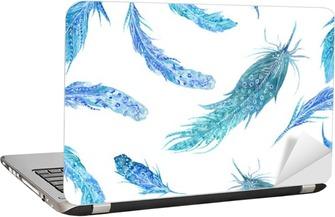 Akvarel turkis fjer mønster Laptop Klistermærke