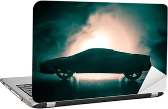 Bilen i skyggerne med glødende lys i svagt lys eller silhuet af sportbil mørk baggrund Laptop Klistermærke