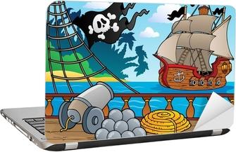 Piratskibsdækkets tema 4 Laptop Klistermærke