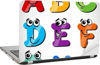 Sjove bogstaver alfabet tegneserie illustration Laptop Klistermærke