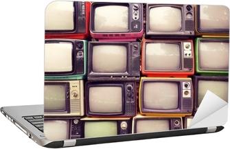 Laptop klistermärken Mönster vägg av högen färgglada retro-tv (tv) - vintage filter effekt stil.