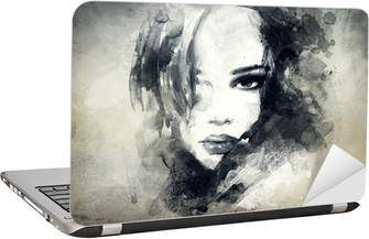 abstract woman portrait Laptop Sticker