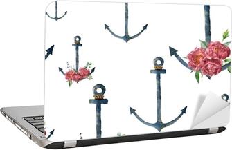 Laptop Sticker Aquarel patroon met anker en pioenroos bloem. handgeschilderde vintage nautische illustratie met florale decor geïsoleerd op een witte achtergrond. voor ontwerp, print of achtergrond