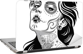 Black and White Day of Dead Girl Vector Illustration Laptop Sticker