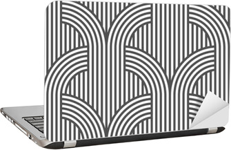 Black and white geometric striped seamless pattern - variation 5 Laptop Sticker