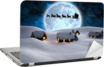 Composite image of house with snow on roof Laptop Sticker