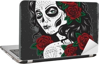 Day of dead girl tattoo illustration Laptop Sticker