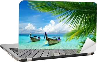 Deck with a view of a tropical sea Laptop Sticker