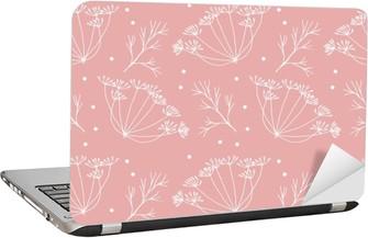 Laptop Sticker Dille of venkel bloemen en bladeren patroon.