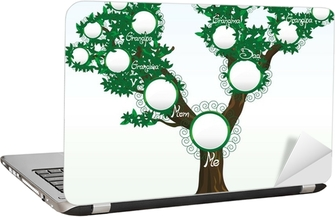 Family tree with place for photos or names, vector Laptop Sticker