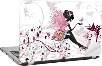 Flower Fairy with butterflies Laptop Sticker